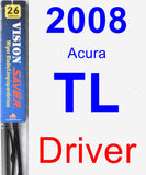 Driver Wiper Blade for 2008 Acura TL - Vision Saver