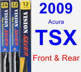 Front & Rear Wiper Blade Pack for 2009 Acura TSX - Vision Saver