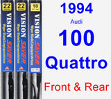 Front & Rear Wiper Blade Pack for 1994 Audi 100 Quattro - Vision Saver