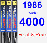 Front & Rear Wiper Blade Pack for 1986 Audi 4000 - Vision Saver