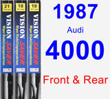 Front & Rear Wiper Blade Pack for 1987 Audi 4000 - Vision Saver