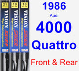 Front & Rear Wiper Blade Pack for 1986 Audi 4000 Quattro - Vision Saver