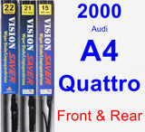 Front & Rear Wiper Blade Pack for 2000 Audi A4 Quattro - Vision Saver