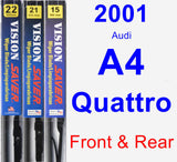 Front & Rear Wiper Blade Pack for 2001 Audi A4 Quattro - Vision Saver