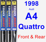 Front & Rear Wiper Blade Pack for 1998 Audi A4 Quattro - Vision Saver