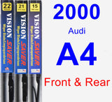 Front & Rear Wiper Blade Pack for 2000 Audi A4 - Vision Saver