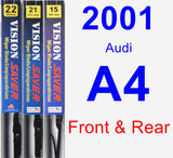Front & Rear Wiper Blade Pack for 2001 Audi A4 - Vision Saver