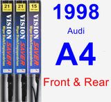 Front & Rear Wiper Blade Pack for 1998 Audi A4 - Vision Saver