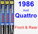 Front & Rear Wiper Blade Pack for 1986 Audi Quattro - Vision Saver