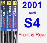 Front & Rear Wiper Blade Pack for 2001 Audi S4 - Vision Saver
