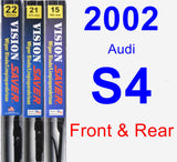 Front & Rear Wiper Blade Pack for 2002 Audi S4 - Vision Saver