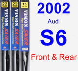 Front & Rear Wiper Blade Pack for 2002 Audi S6 - Vision Saver