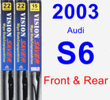 Front & Rear Wiper Blade Pack for 2003 Audi S6 - Vision Saver