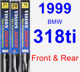 Front & Rear Wiper Blade Pack for 1999 BMW 318ti - Vision Saver