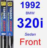 Front Wiper Blade Pack for 1992 BMW 320i - Vision Saver