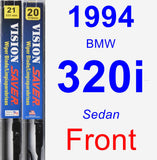Front Wiper Blade Pack for 1994 BMW 320i - Vision Saver