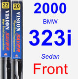 Front Wiper Blade Pack for 2000 BMW 323i - Vision Saver