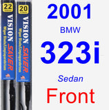 Front Wiper Blade Pack for 2001 BMW 323i - Vision Saver