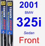 Front Wiper Blade Pack for 2001 BMW 325i - Vision Saver