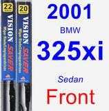 Front Wiper Blade Pack for 2001 BMW 325xi - Vision Saver