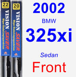 Front Wiper Blade Pack for 2002 BMW 325xi - Vision Saver