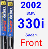 Front Wiper Blade Pack for 2002 BMW 330i - Vision Saver
