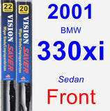Front Wiper Blade Pack for 2001 BMW 330xi - Vision Saver