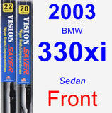 Front Wiper Blade Pack for 2003 BMW 330xi - Vision Saver