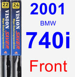 Front Wiper Blade Pack for 2001 BMW 740i - Vision Saver