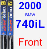 Front Wiper Blade Pack for 2000 BMW 740iL - Vision Saver