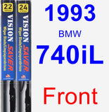 Front Wiper Blade Pack for 1993 BMW 740iL - Vision Saver
