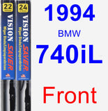 Front Wiper Blade Pack for 1994 BMW 740iL - Vision Saver
