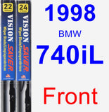 Front Wiper Blade Pack for 1998 BMW 740iL - Vision Saver