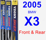 Front & Rear Wiper Blade Pack for 2005 BMW X3 - Vision Saver