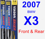 Front & Rear Wiper Blade Pack for 2007 BMW X3 - Vision Saver