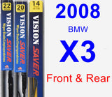 Front & Rear Wiper Blade Pack for 2008 BMW X3 - Vision Saver