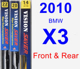 Front & Rear Wiper Blade Pack for 2010 BMW X3 - Vision Saver
