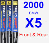 Front & Rear Wiper Blade Pack for 2000 BMW X5 - Vision Saver
