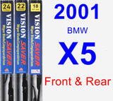 Front & Rear Wiper Blade Pack for 2001 BMW X5 - Vision Saver