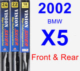 Front & Rear Wiper Blade Pack for 2002 BMW X5 - Vision Saver