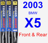 Front & Rear Wiper Blade Pack for 2003 BMW X5 - Vision Saver