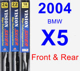 Front & Rear Wiper Blade Pack for 2004 BMW X5 - Vision Saver