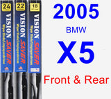 Front & Rear Wiper Blade Pack for 2005 BMW X5 - Vision Saver