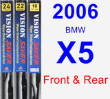 Front & Rear Wiper Blade Pack for 2006 BMW X5 - Vision Saver