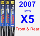 Front & Rear Wiper Blade Pack for 2007 BMW X5 - Vision Saver