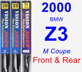 Front & Rear Wiper Blade Pack for 2000 BMW Z3 - Vision Saver