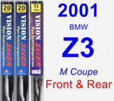 Front & Rear Wiper Blade Pack for 2001 BMW Z3 - Vision Saver