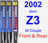 Front & Rear Wiper Blade Pack for 2002 BMW Z3 - Vision Saver