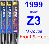 Front & Rear Wiper Blade Pack for 1999 BMW Z3 - Vision Saver