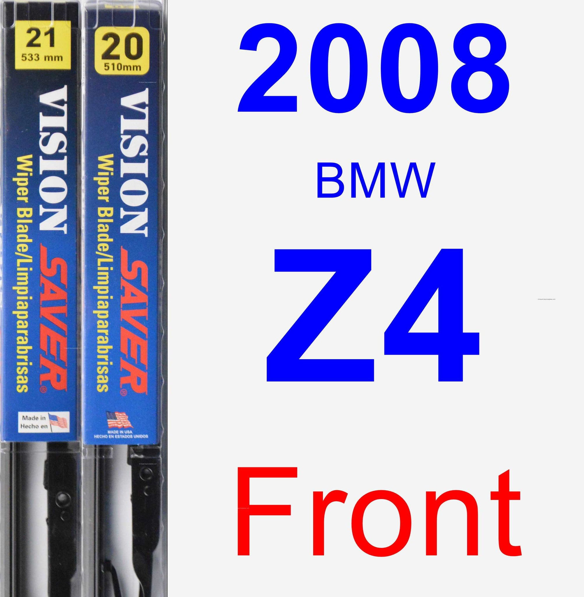 Front Wiper Blade Pack for 2008 BMW Z4 - Vision Saver